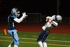 SUBMITTED PHOTO: GREG ARTMAN - Wilsonville cornerback Zach Shelton catches an interception in the end zone during the Wildcats win over Liberty in the quarterfinals of the state playoffs.