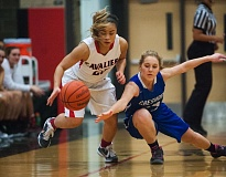 OUTLOOK PHOTO: JOSH KULLA - Clackamas guard Bri Phiakhamngon steals the ball from Gresham's Madelynn Lindhorst Tuesday, Feb. 2, in the Cavaliers' 69-30 Mount Hood Conference girls basketball win.