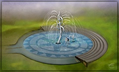 MICHAEL CURRY DESIGN  - A 20-foot tall water fountain designed by Michael Curry is one of several features set to be installed at Heritage Park in Scappoose. The fountain design has been scaled down, but will still be a tree-like fountain that can be activated with a button.