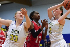 THE OUTLOOK: DAVID BALL - Barlow center Hannah Rispler pulls down a rebound out of a crowd during the Bruins 47-34 win over Centennial on Friday.