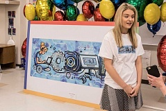 TIMES PHOTO: JONATHAN HOUSE - Bailey Volchok spoke to her love of art following a brief ceremony introducing her Doodle 4 Google competition entry, which was the top submission from Oregon and is competiting with other state and territory winners.