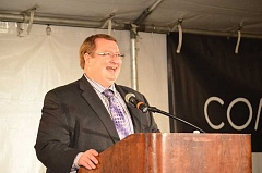 TIMES PHOTO: GEOFF PURSINGER - Tigard Mayor John L. Cook took his yearly address on the road, delivering the State of the City address from Indio Spirits, near Bridgeport Village.