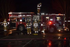 DANIEL PEARSON - Canby Fire District 62 on the scene on a recent Sunday night downtown fire at the Canby Auto Wash & Auto Lube.