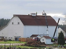 SUBMITTED PHOTO - Workers install a new roof on the 115-year-old Luscher Barn.