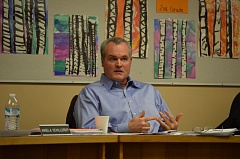 SPOTLIGHT PHOTO: NICOLE THILL - Will Kessi, the Scappoose School Board chair, speaks during the Scappoose School Board meeting Monday, Feb. 8. Kessi said he was opposed to implementing a construction tax in 2007 when the Senate bill was passed, and still is opposed to it now.