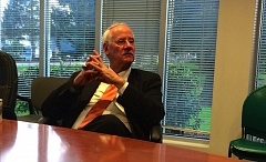 TRIBUNE PHOTO: SHASTA KEARNS MOORE - Oregon State University President Ed Ray speaks to the editorial board of the Portland Tribune.