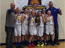 CONTRIBUTED PHOTO - The Barlow Bruins celebrate their championship win in the fifth-grade state tournament in Bend.