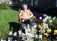BARBARA SHERMAN - Pearl Schuler, who has been a resident of King City for a total of 27 years, enjoys the daffodils outside Pacific Pointe Retirement Inn, where she has lived for 3 1/2 years.