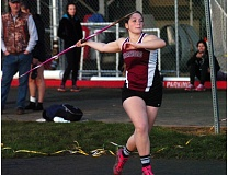 DAN BROOD - Sherwood High School senior Payge Cuthbertson gets ready to throw the javelin during last week's season-opening Sherwood Invitational. Cuthbertson said a new school record with a throw of 139-8.