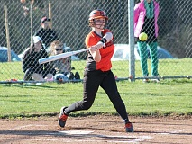 JIM BESEDA/MOLALLA PIONEER - Molalla's Amanda Foster takes a swing during the third inning of the Indians' 8-7 road win over Colton to open the 2016 high school softball regular season.