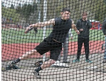 JIM BESEDA/MOLALLA PIONEER - Molalla's Cody Partlow popped a throw of 134-9 1/2 in the discus during Wednesday's all-comers meet in Oregon City.