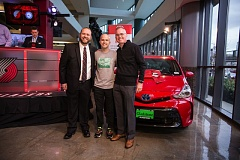 PORTLAND TRAIL BLAZERS - Daniel McGunnigle received the keys to his 2016 Toyota Prius V on March 26. From left: Toyota District Sales Manager Brian Herbert representing the Pacific Northwest Toyota Dealers Association; McGunnigle; and Gladstone Toyota General Manager David Elder.