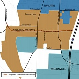 BASALT CREEK CONCEPT PLAN PROJECT MAP - A map shows the agreed future boundary between Tualatin and Wilsonville, the cities seeking to eventually annex land in the Basalt Creek area. An open house will be held to present information on their plans on April 28.