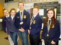 SUBMITTED - (From left to right) Newberg High School students Lala Frketich, Violet Elder, John McCarthy, Todd Halleman and Alyssa Berry won state championships for their agri-science experiments at the FFA state convention March 18-21 at Oregon State University.