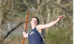 NEWS-TIMES PHOTO: AMANDA MILES - Banks junior Grace Buchanan winds up to throw the javelin during last Wednesday's double dual against Valley Catholic and Astoria.
