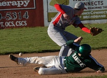 ESTACADA NEWS: PARKER LEE - Estacadas Andy Avants slides toward second base for a steal, while the Seaside throw bounces into the outfield grass.