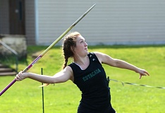 ESTACADA NEWS: DAVID BALL - Estacadas Ashley Liber rears back for a throw on her way to second place in the javelin.