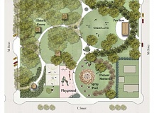 ILLUSTRATION COURTESY OF WALKER/MACY - The spray pool will be located near the pioneer memorial at Sahalee Park, as shown in this illustration from 2006.