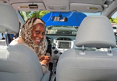 SPOKESMAN FILE PHOTO - Shirley Woods says that she will continue to drive her 2014 Honda Fit electric vehicle despite low gas prices.