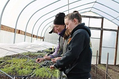 SPOKESMAN PHOTOS: ANDREW KILSTROM - Aimee Jo Bartholomew, middle, moved into the CREST Farm site home in February. Here, CREST volunteers Andy Schrank, left, and Helena Kreb, right, help with vegetables in the greenhouse.