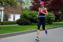 REVIEW PHOTO: ANDREW BANTLY - Maya Barba has been running 60 miles a week while training for Monday's Boston Marathon. 'If I described myself in five words, they'd probably all be 'runner,'' she says. 'I totally identify with that term.'
