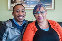 OUTLOOK PHOTO: JOSH KULLA - Vince Jones and his mother, Kimberly Dixon, share how their lives have been impacted by gang violence. They talked with The Outlook at the Park Place Cafe in Rockwood.