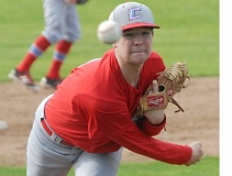 THE OUTLOOK: PARKER LEE - Centennial starter A.J. Hergert delivers a pitch during the Eagles dramatic 1-0 win over Barlow to start league play Tuesday.