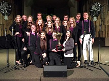 SUBMITTED PHOTO - Sherwood High Schools a cappella group, the MixOlydians take home a first-place trophy (and $750 cash) for the second year in a row as part of the Portland Rose Festival Sing Off.