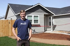 SUSAN MATHENY/MADRAS PIONEER - Cameron Griggs, an 18-year-old Prineville resident, helped work on the first 'dream home' in Madras and attended a celebration of the new home on Friday.