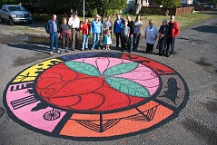 SUBMITTED PHOTO - A painted intersection at Southeast Sherrett Street and 30th Avenue created by members of the Ardenwald-Johnson Creek neighborhood in 2015.
