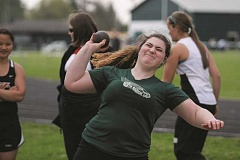 PHIL HAWKINS - North Marion sophomore Lacey Walker placed first in the shot put at last week's Oregon West home track and field meet. Walker helped lead the Huskies, who placed first in five events on April 12.