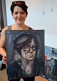 SPOKESMAN PHOTO: JAKE BARTMAN - Emerging artist Kelsey Hinton, whose work is on display at Clackamas Community College's Wilsonville campus until June 10, with a recently-completed self-portrait.