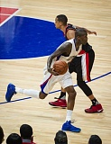 TRIBUNE PHOTO: EDDIE RUVALCABA - Los Angeles Clippers guard jamal Crawford, the NBA's Sixth Man of the Year, tried to get around CJ McCollum of the Trail Blazers during Game 1 of their playoff series.