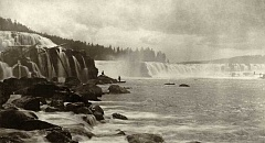 COURTESY OLD OREGON PHOTOS - This circa 1880 photograph, taken shortly after the Willamette Falls Locks were constructed, shows the juxtaposition of white settler culture (left) and native populations (on fishing platforms, right).