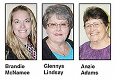 HOLLY M. GILL - Three Jefferson County residents, Brandie McNamee, Glennys Lindsay and Anzie Adams, will vie for the position of county treasurer in the May 17 election.