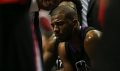 TRIBUNE PHOTO: DAVID BLAIR - Chris Paul of the Los Angeles Clippers broke his right hand in the third quarter Monday night, as the Trail Blazers won 98-84 at Moda Center to tie the team's first-round playoff series at 2-2.
