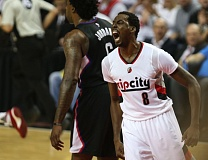 TRIBUNE PHOTO: DAVID BLAIR - Al-Farouq Aminu had reason to shout Monday night, as he came up with 30 points and 10 rebounds for the Trail Blazers, who beat the Los Angeles Clippers 98-84 at Moda Center.