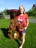 SUBMITTED PHOTO - Shannon Joy Hendrickson will bring Rojo the therapy llama to Deerfield Village Assisted Living on May 4 to celebrate Cinco de Mayo; she will also bring copies of her book 'Rojo the Perfectly Imperfect Llama.'