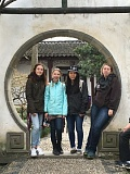 Caroline Kiesz (from left), Autumn Prisel, Meiling Masterson and Helena Brinker visit the Suzhou Museum Garden.