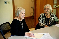 SUBMITTED PHOTO: DAVID BIRCH  - Mary Lansing, left, and Phyl Kerns share memories of their lives. A new workshop will begin May 3 which will give women an opportunity to share their stories.