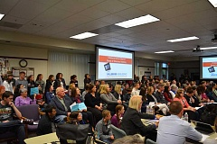 HILLSBORO TRIBUNE PHOTO: KATHY FULLER - Two controversial topics -- contraceptives at the local School Based Health Center and choices in core academic classes -- produced a packed room at the Hillsboro School Board meeting Tuesday night.