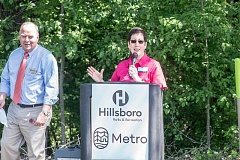 HILLSBORO TRIBUNE PHOTOS: CHASE ALLGOOD - Metro Councilor Kathryn Harrington speaks at the April 20 groundbreaking ceremony for Orenco Woods Nature Park.