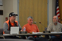 SPOTLIGHT PHOTO: COURTNEY VAUGHN - Columbia River PUD directors discuss the recently adopted board governance policy during a meeting Tuesday, April 19. Pictured left to right: President Jake Carter and Directors Craig Melton and Richard Simpson.