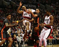 TRIBUNE FILE PHOTO: DAVID BLAIR - Gerald Henderson of the Trail Blazers is fouled on a drive in the Feb. 19 home game against the Golden State Warriors.