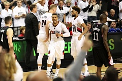 TRIBUNE PHOTO: DAVID BLAIR - Damian Lillard and the Trail Blazers eliminated the Los Angeles Clippers in six games with their victory at home in Portland on Friday night.