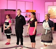 PHOTO COURTESY OF THE FOOD NETWORK - Lake Oswego's Kyra Bussanich (third from left) and her competitors await the judges' instructions Monday night on the Food Network's 'Cupcake Wars.'