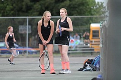 JIM BESEDA/MOLALLA PIONEER - Molalla's Juliann Jones (left) and Abby Cain are in their third season as the Indians' No. 1 doubles teams.