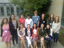 SUBMITTED PHOTO: JOE GODFREY - Lake Oswego Junior High students who participated in the Intel Science Fair included (from left) Front Row: Alyssa Seibt, Penelope Spurr, Andre Yang, Lena When and Amy Wang; and back row, McKenzie Grisham, Doris Yang, Jackson Saefke, Tejas Kalyan, Jake Daniels, Nick Surina, Lauren Joyce and Avery Holmes.
