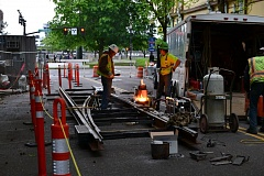 PORTLAND TRIBUNE: JULES ROGERS - TriMet workers prepare to replace MAX rails in downtown Portland.