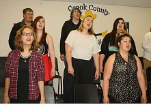 HOLLY SCHOLZ/CENTRAL OREGONIAN - Members of the Crook County High School Jazz Choir get some practice in earlier this week before heading to the OSAA State Choir Championships at George Fox University. Pictured back row, left to right: Garrett Luther and Dempsey Campo. Middle row: Hailey Bishop, Baylie DeHart, and Abigail Daly. Front row: Keana Heinz and Jessica Stanley. Hannah Moorman directs the Jazz Choir.
